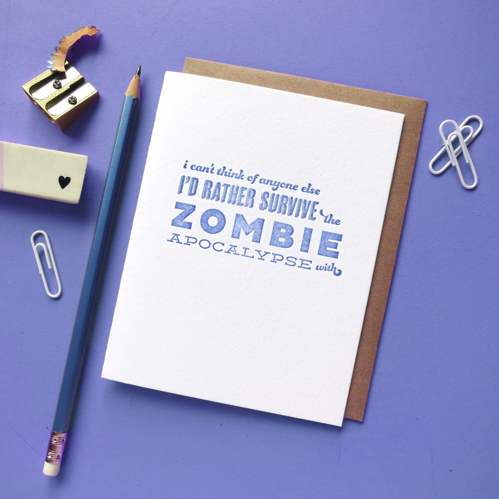 Image of zombie pick-up line letterpress card