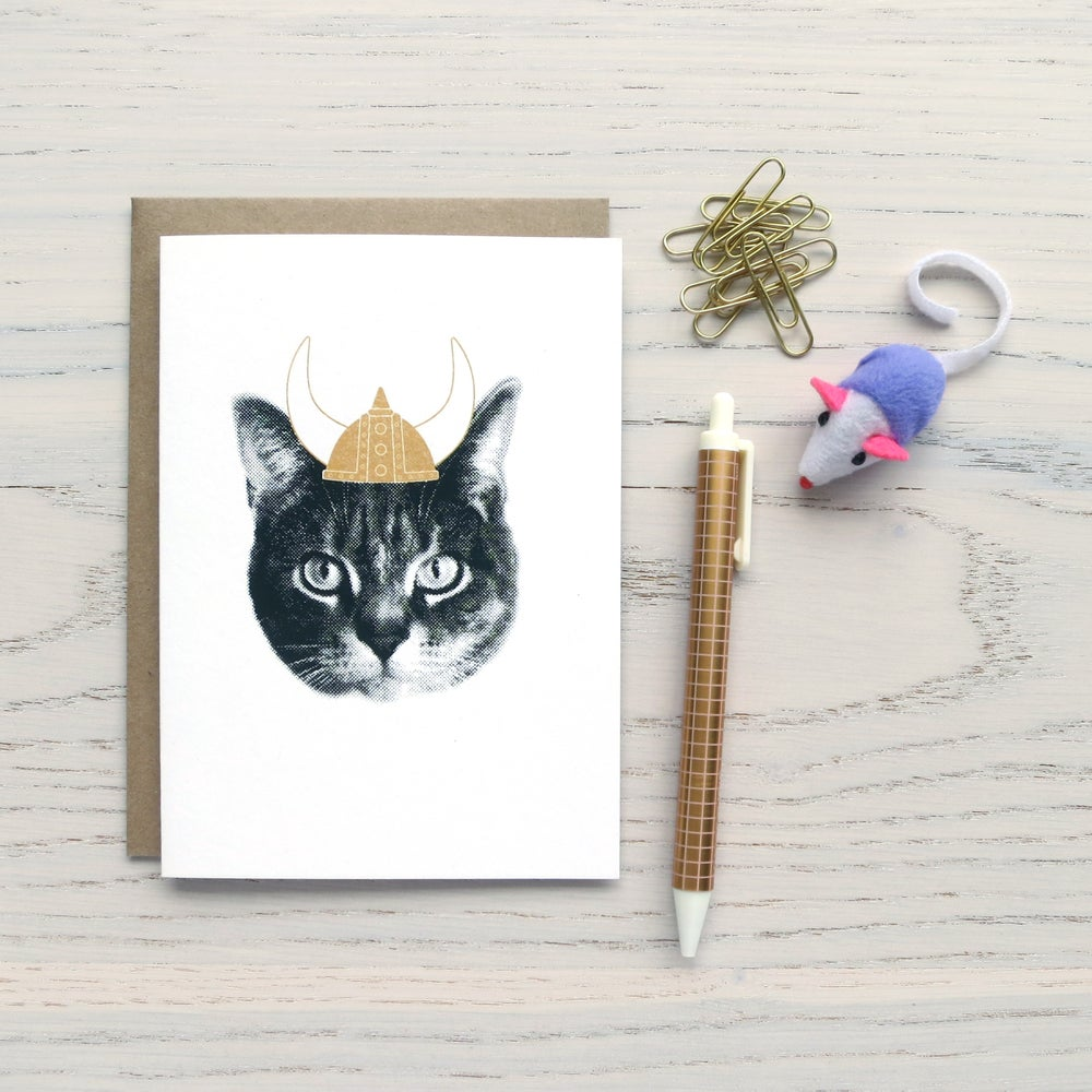 Image of gee whiskers series: viking cat notecard