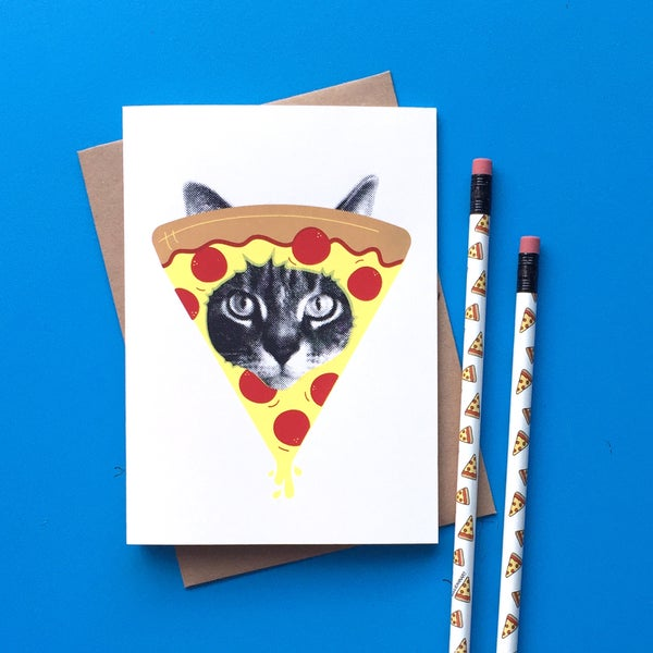 Image of gee whiskers series: pizza cat screenprinted card