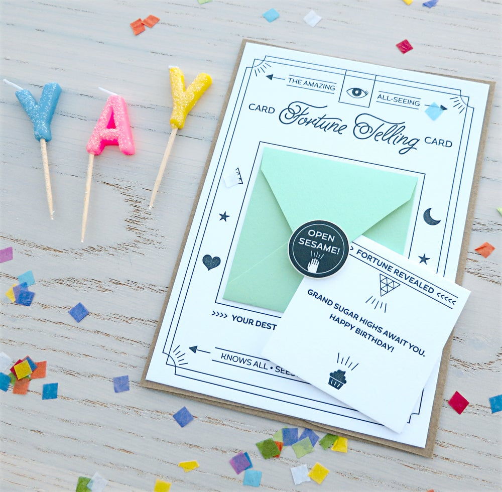 Image of fortune telling letterpress card: happy birthday