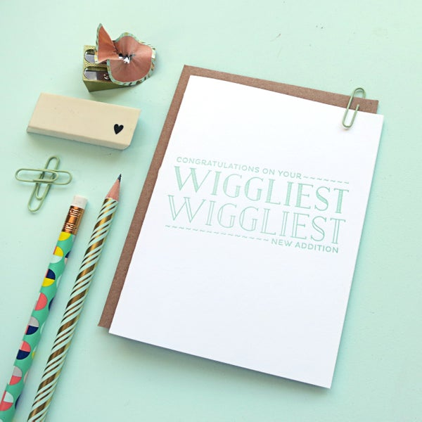 Image of wiggliest new addition letterpress card