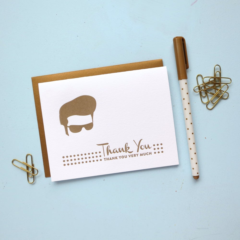 Image of elvis thank you letterpress card