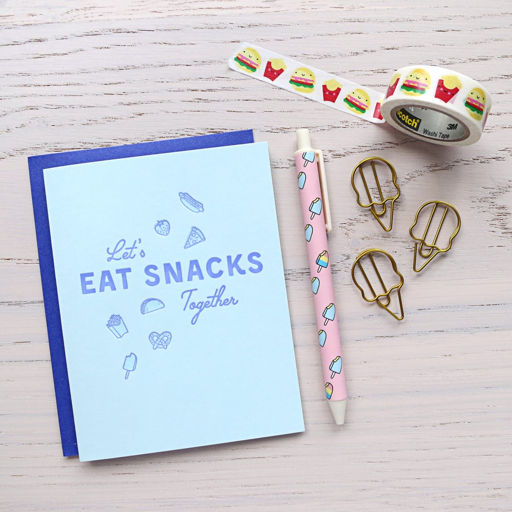 Image of let's eat snacks letterpress card