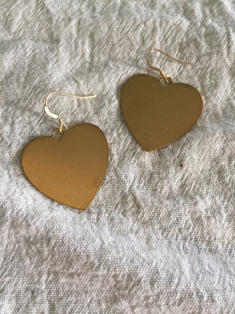 Image of Brass Flat Heart Earrings with 14k Gold Filled Hooks