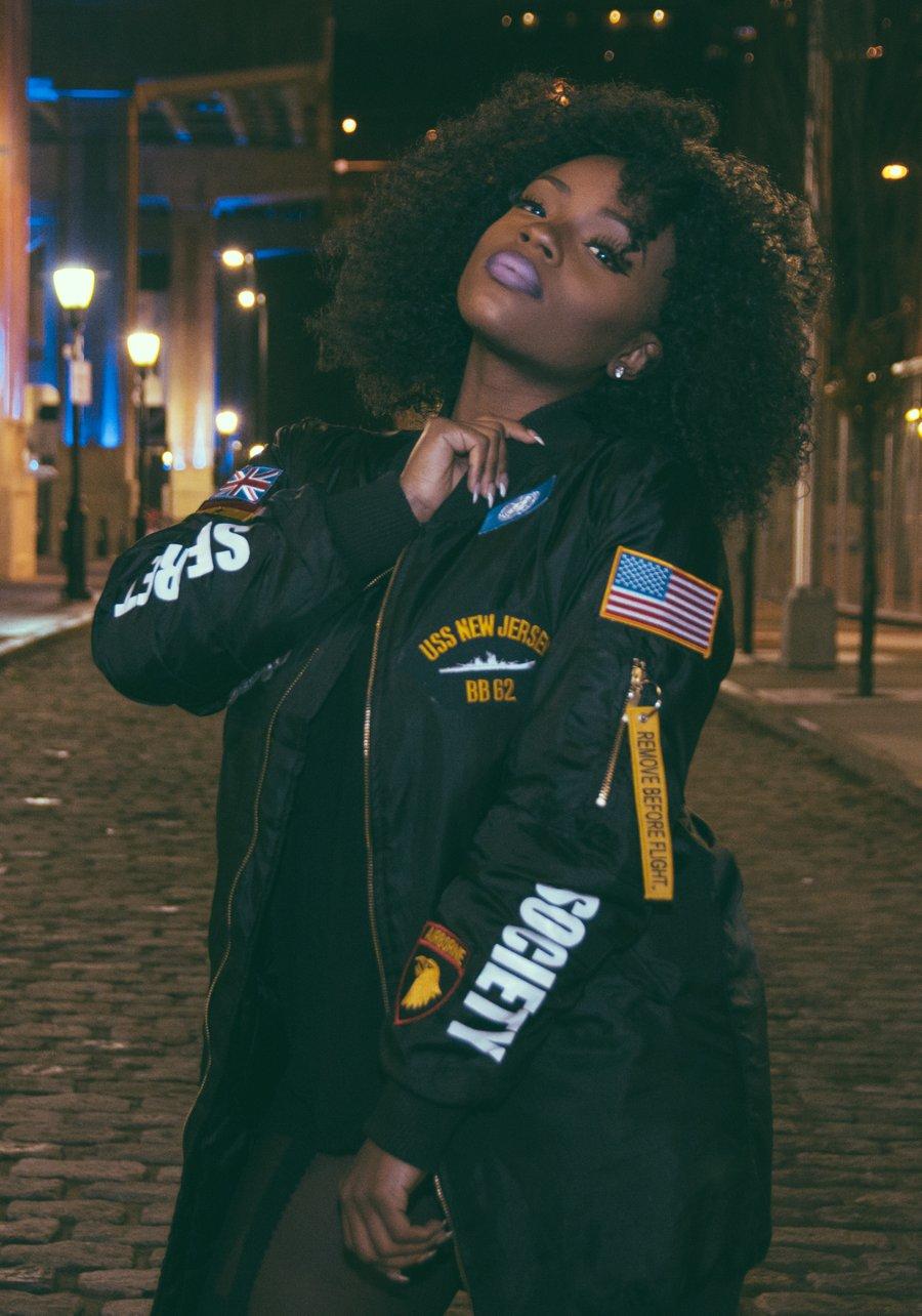 Image of United Nations Longline Bomber Jacket Black - Women