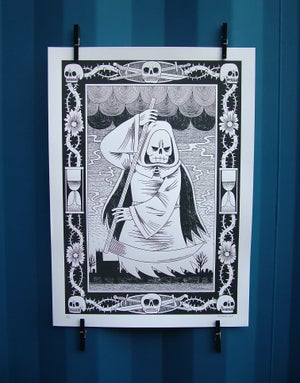 Image of Reaper - Black and White Screen-Print - Discounted Misprint