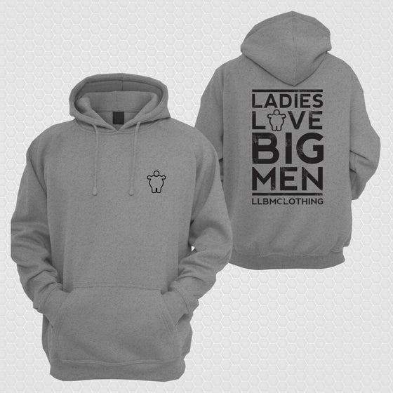 Image of LARGE LOVE BIG MEN  HOODIE  CHARCOAL/BLACK