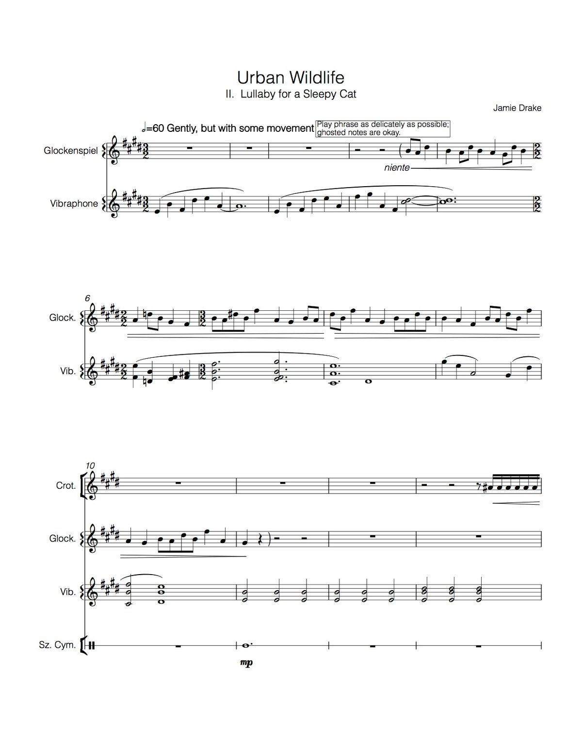 Image of Lullaby for a Sleepy Cat (percussion quartet - score and parts)