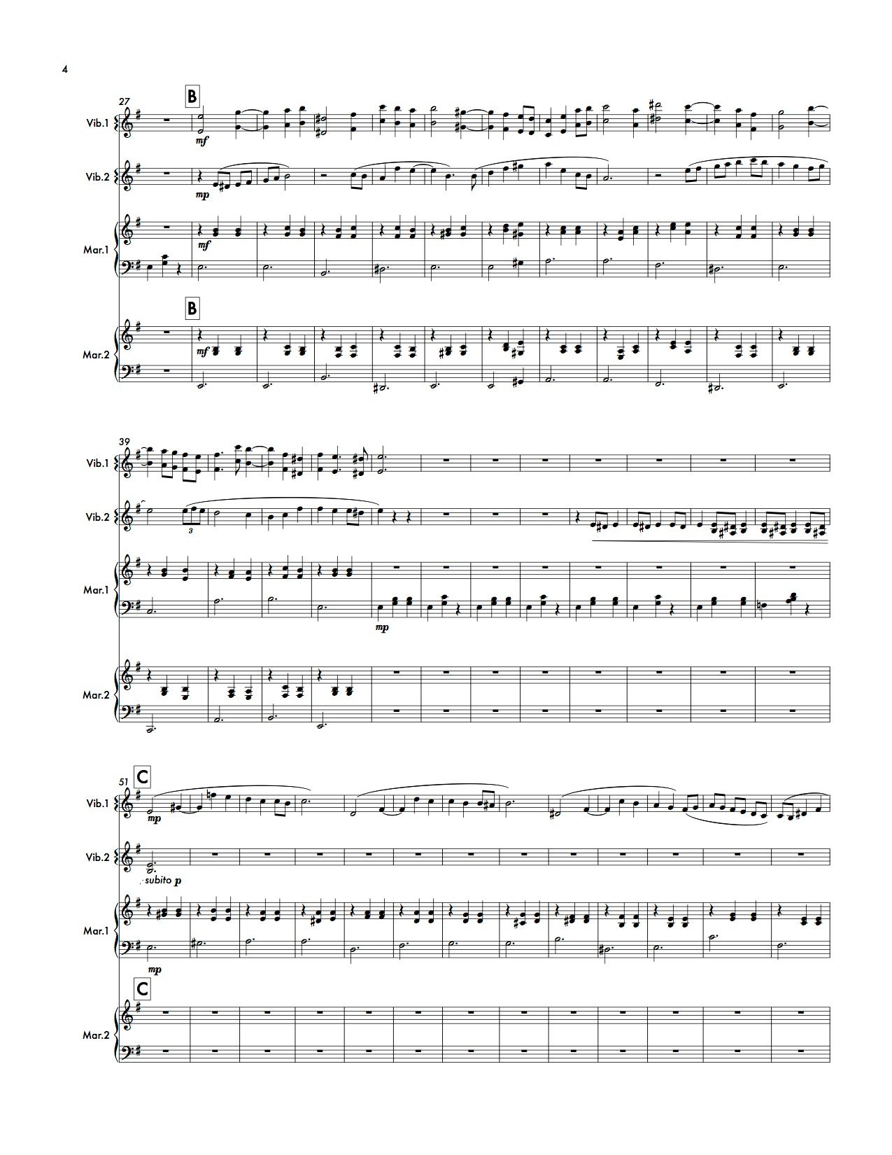 The Blue Guitar (marimba/vibraphone quartet - score and parts)