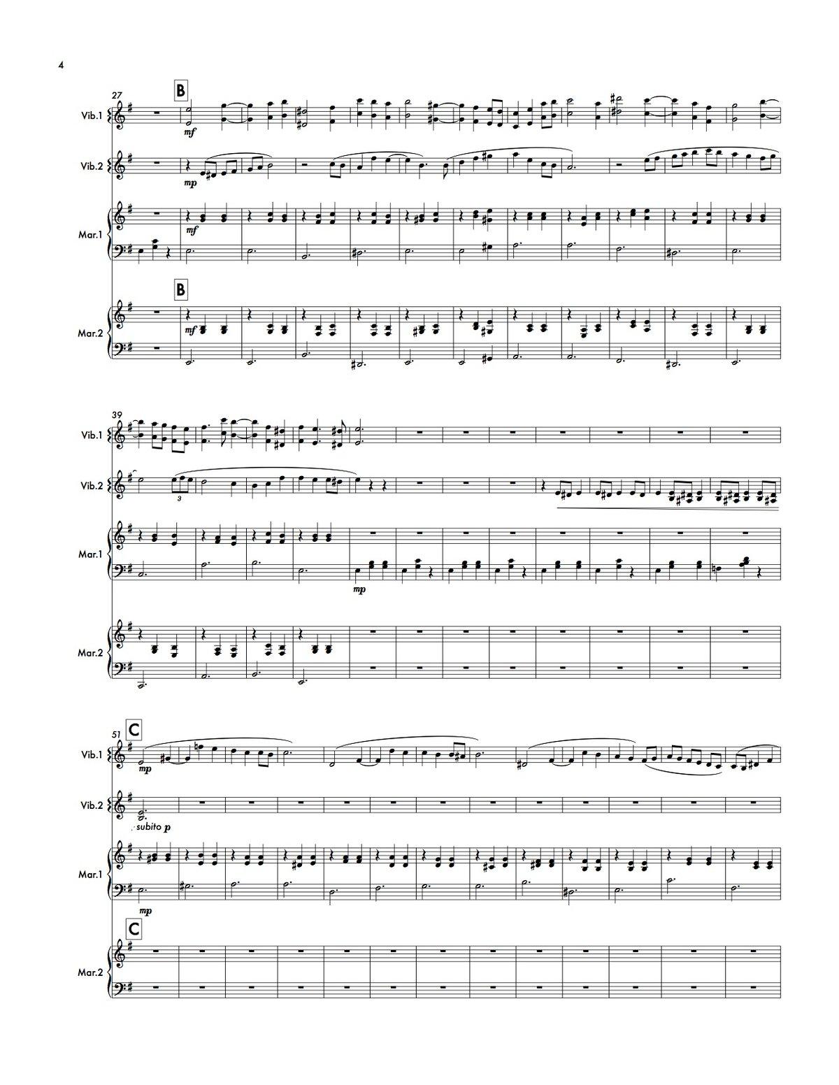 Image of The Blue Guitar (marimba/vibraphone quartet - score and parts)