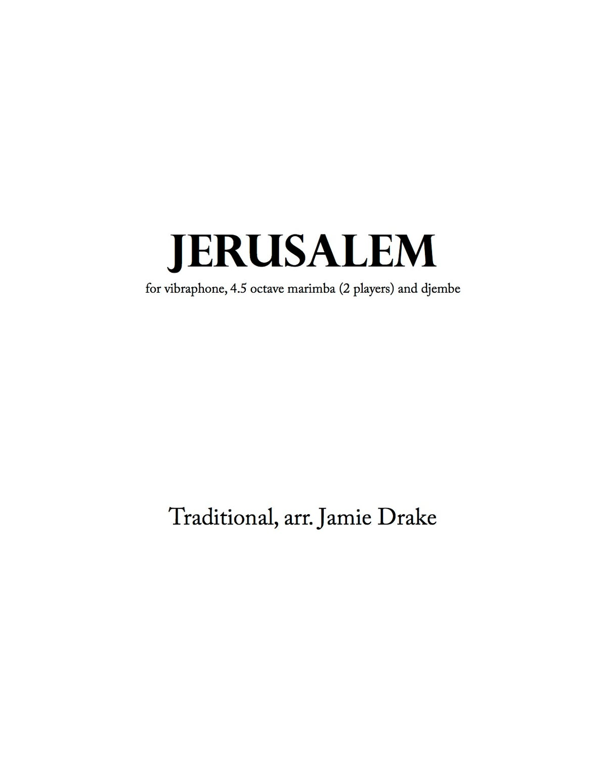 Image of Jerusalem (trad. South African - percussion quartet - score and parts)