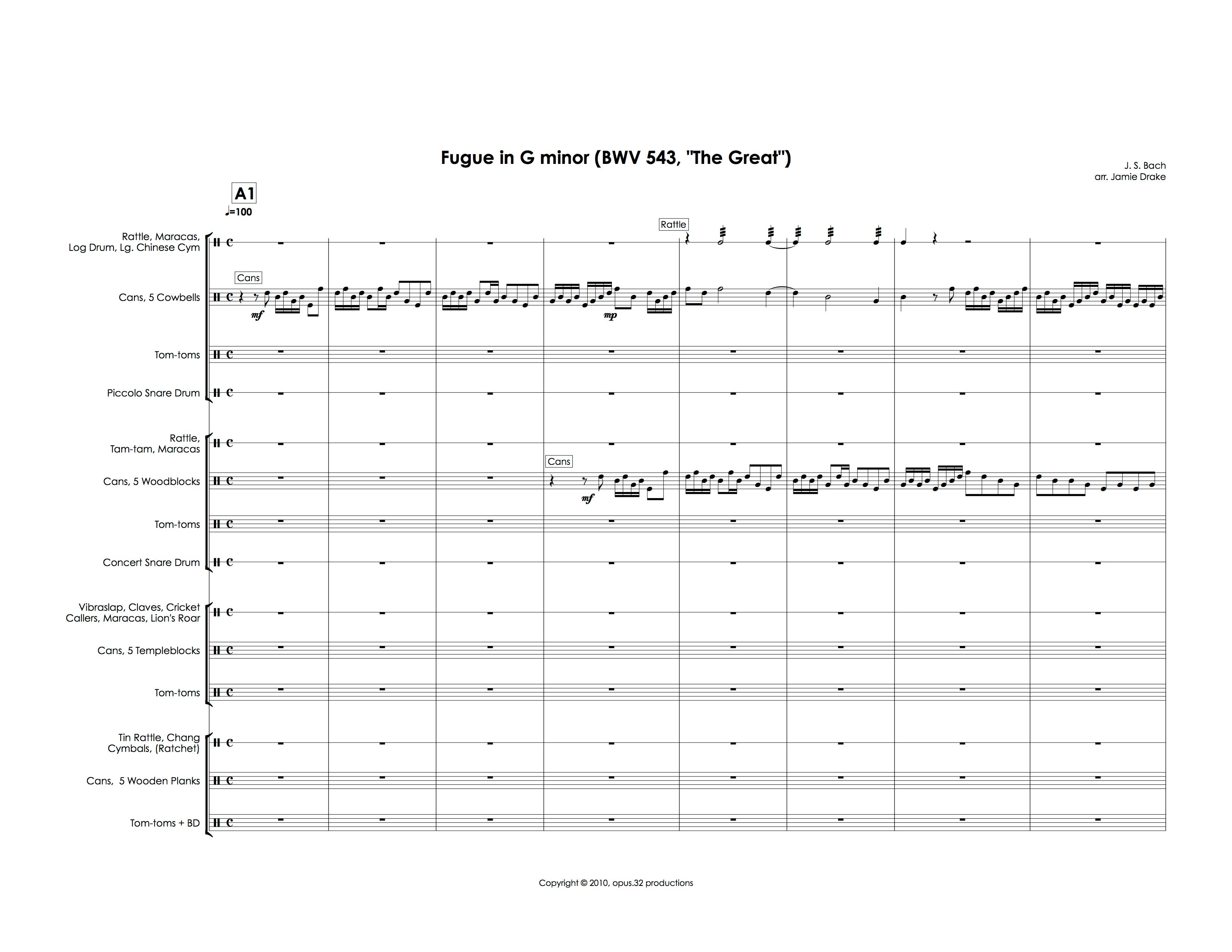 Fugue for Percussion (percussion quartet, score and parts)