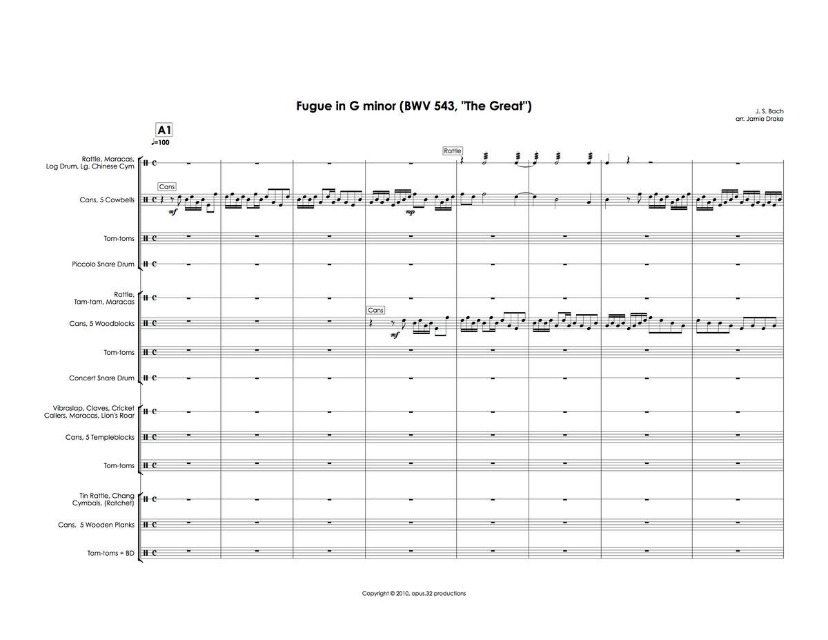Image of Fugue for Percussion (percussion quartet, score and parts)