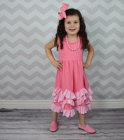 Image of Pretty in Pink Ruffle Dress, baby, toddler, girl, photos, sister set