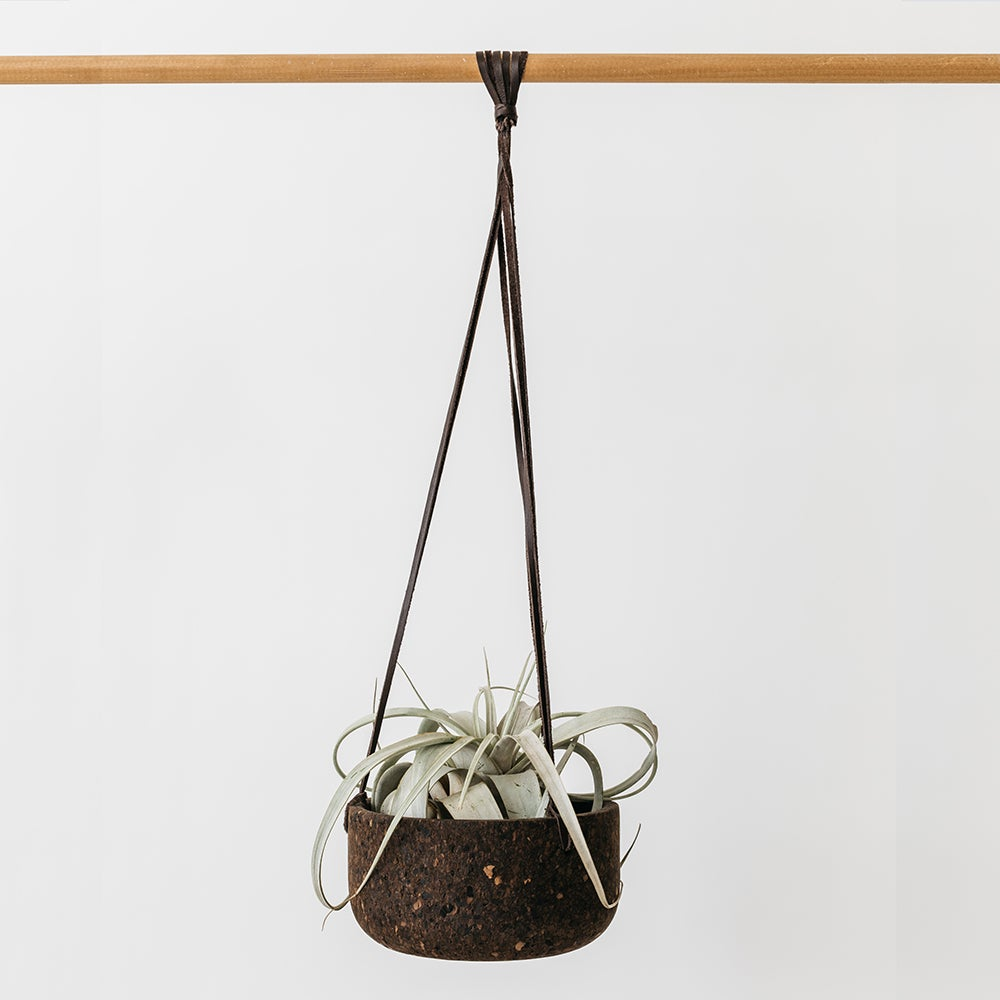 Image of Large Charcoal Cork Hanging Planter