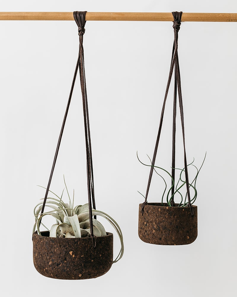 Image of Small Charcoal Cork Hanging Planter