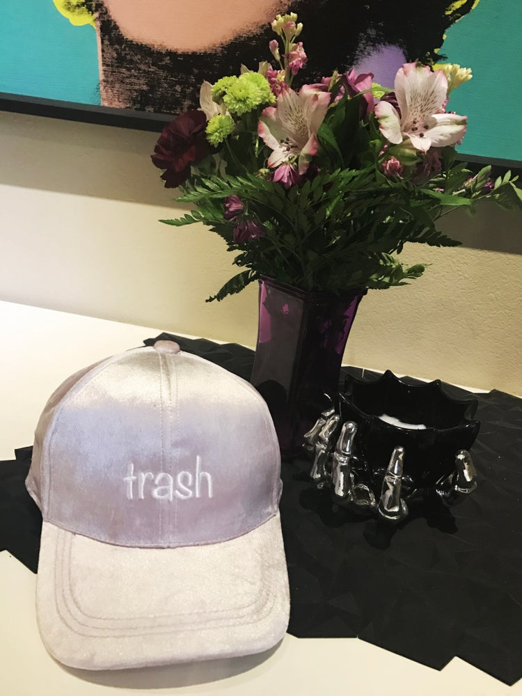 Image of LIGHT PINK VELVET TRASH HAT