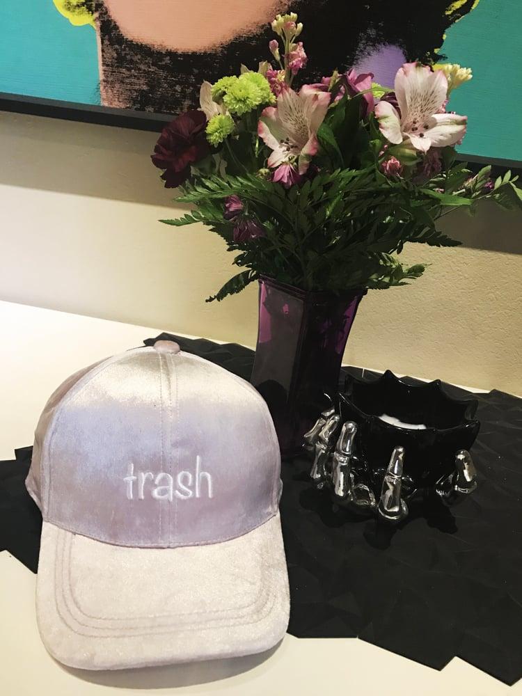 Image of LIGHT PINK VELVET TRASH HAT
