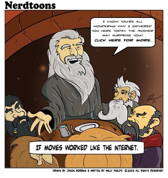"Image of ""Gandalf's Click Bait"" Nerdtoon"
