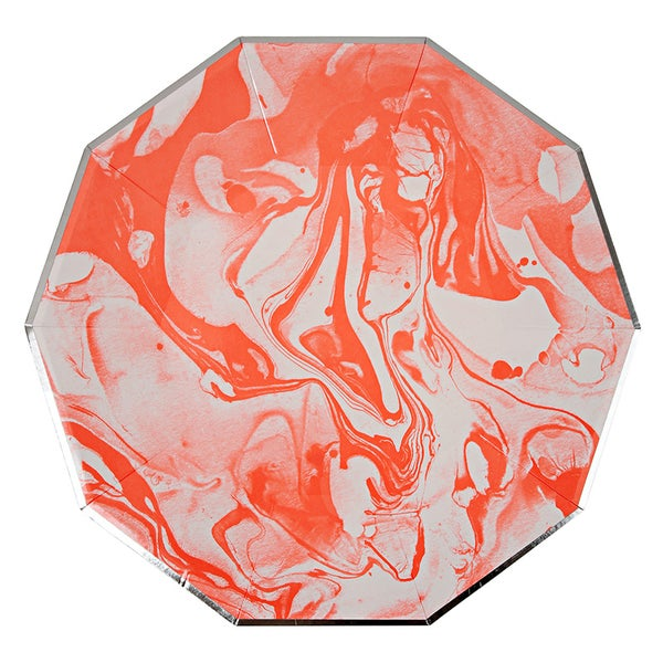 Image of Neon Coral Marble Plates