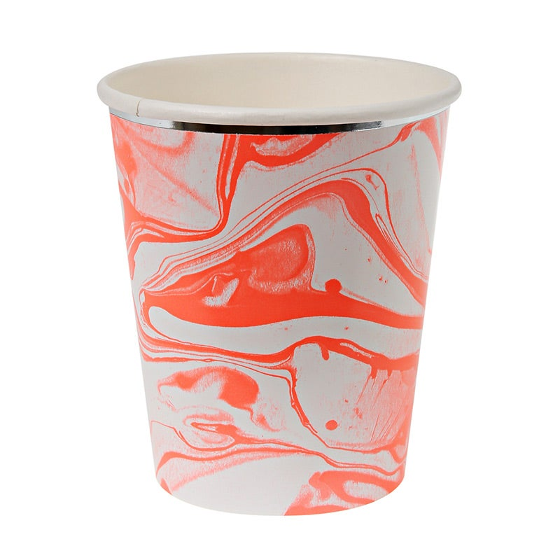 Image of Neon Coral Marble Party Cups