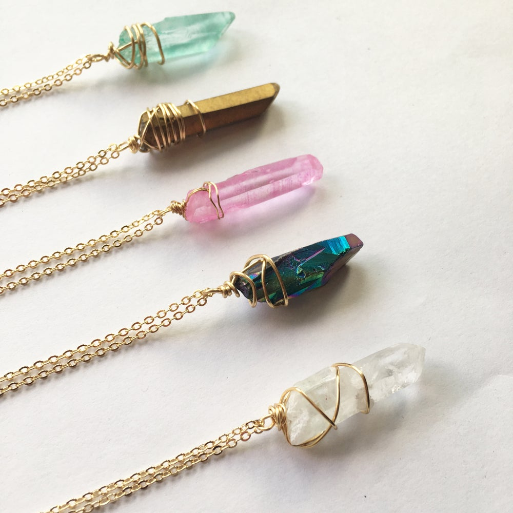 Image of Mystic Necklace - Aura Quartz, Gold Finish