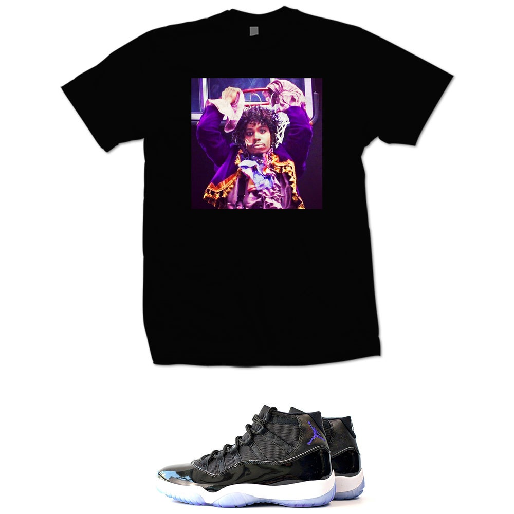 Image of DAVE CHAPPELLE PRINCE RETRO 11 SPACE JAM T SHIRT - BLACK