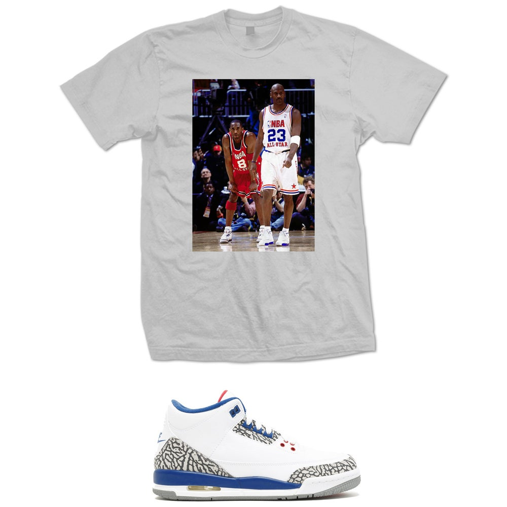 Image of MJ AND KOBE RETRO 3 TRUE BLUE T SHIRT - GREY