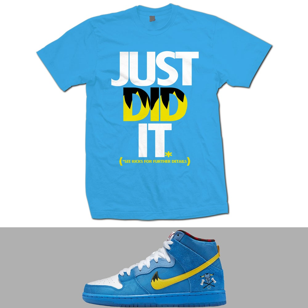 Image of JUST DID IT SB DUNK BLUE OX T SHIRT - SKY BLUE