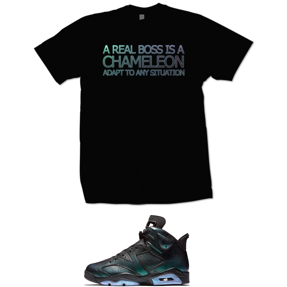 Image of A REAL BOSS IS A CHAMELEON ADAPT TO ANY SITUATION RETRO 6 ALL STAR T SHIRT - BLACK