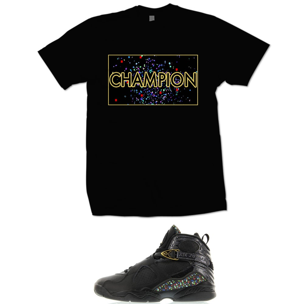 Image of CHAMPION RETRO 8 CONFETTI T SHIRT - BLACK