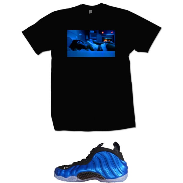 Image of KISHA BELLY FOAMPOSITE ONE ROYAL OG T SHIRT - BLACK