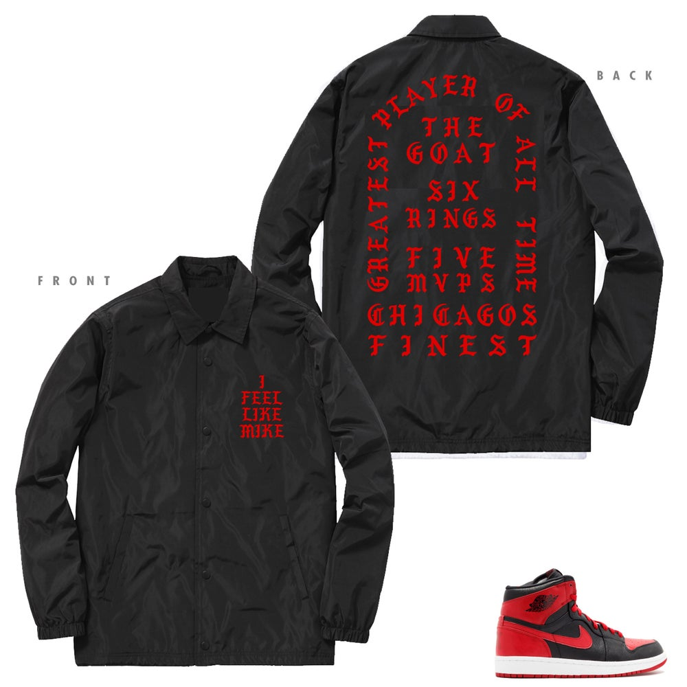 Image of I FEEL LIKE MIKE PABLO INSPIRED COACHES JACKET RED FONT - BLACK