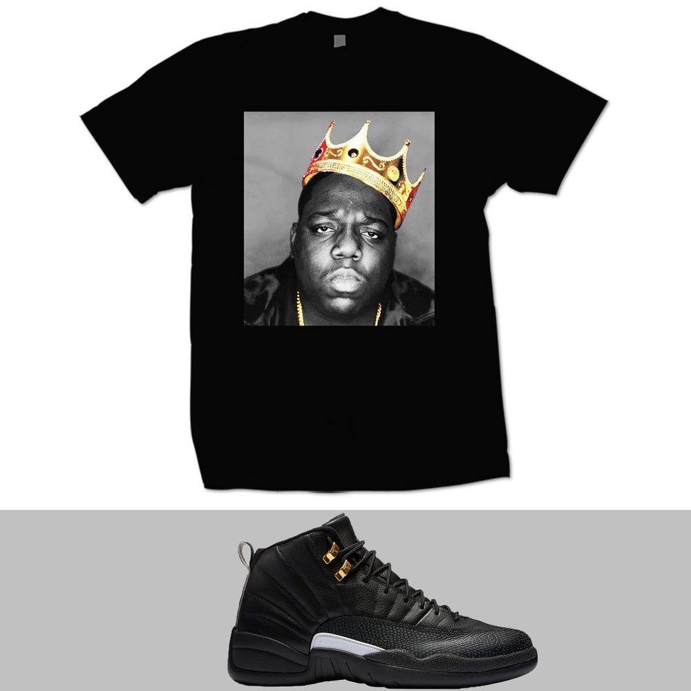 Image of BIGGIE GOLD CROWN RETRO 12 MASTERS T SHIRT - BLACK