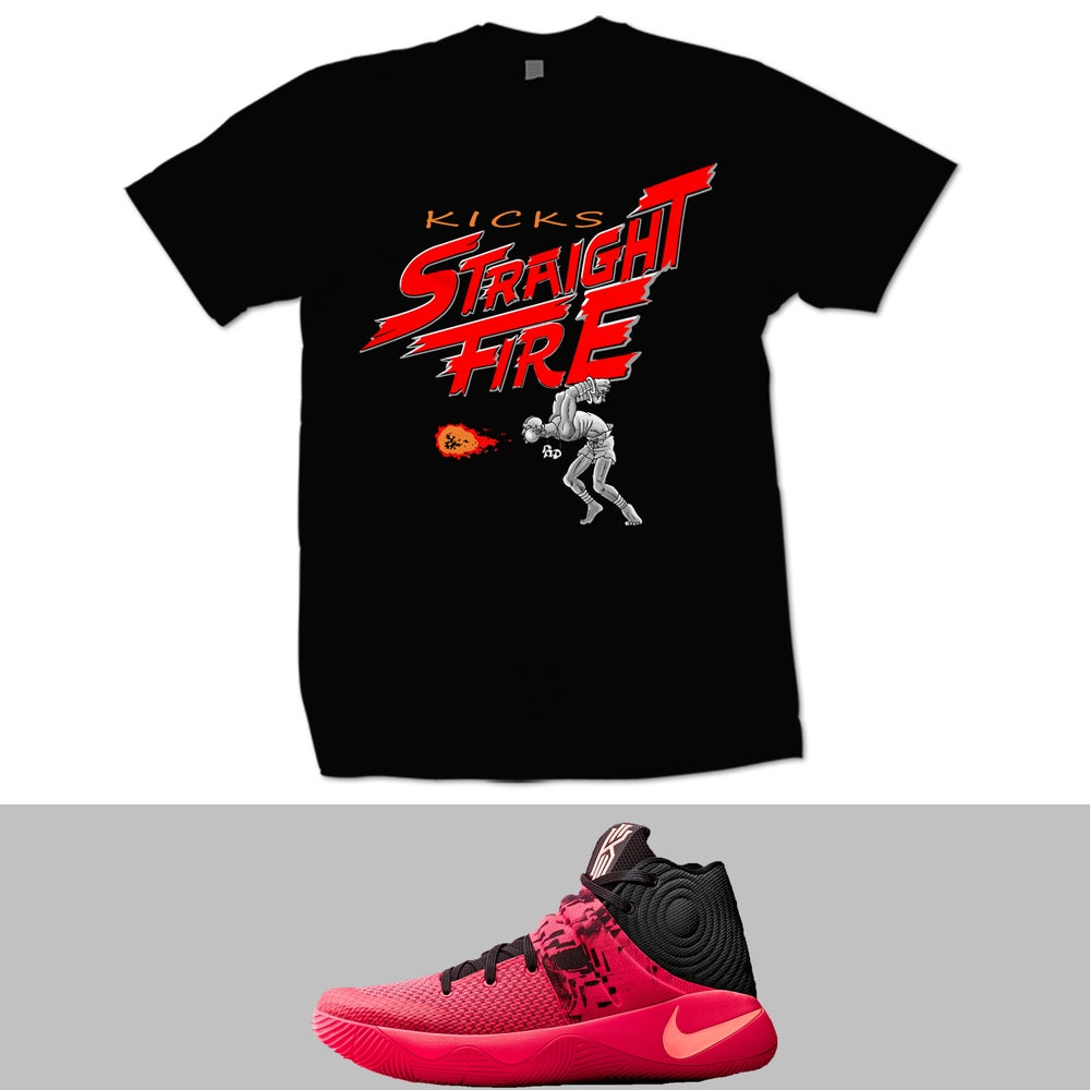 Image of KYRIE 2 INFERNO STRAIGHT FIRE T SHIRT - BLACK