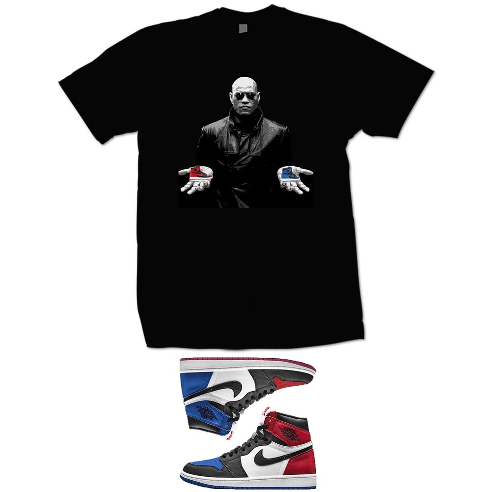 Image of MATRIX RETRO 1 RED OR BLUE PILL RED OR BLUE RETRO 1 T SHIRT - BLACK