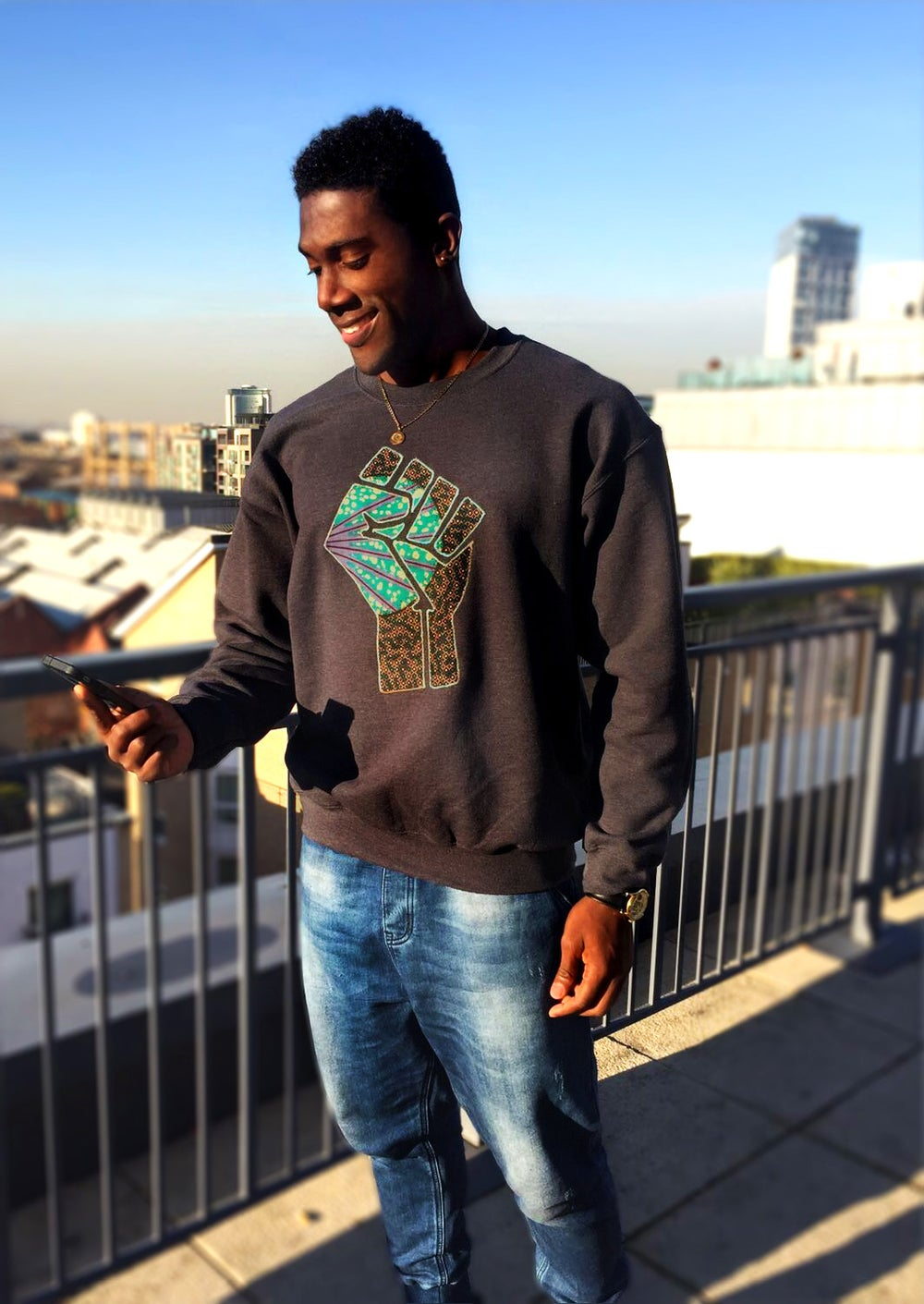 Image of BLACK Fist Up Sweater