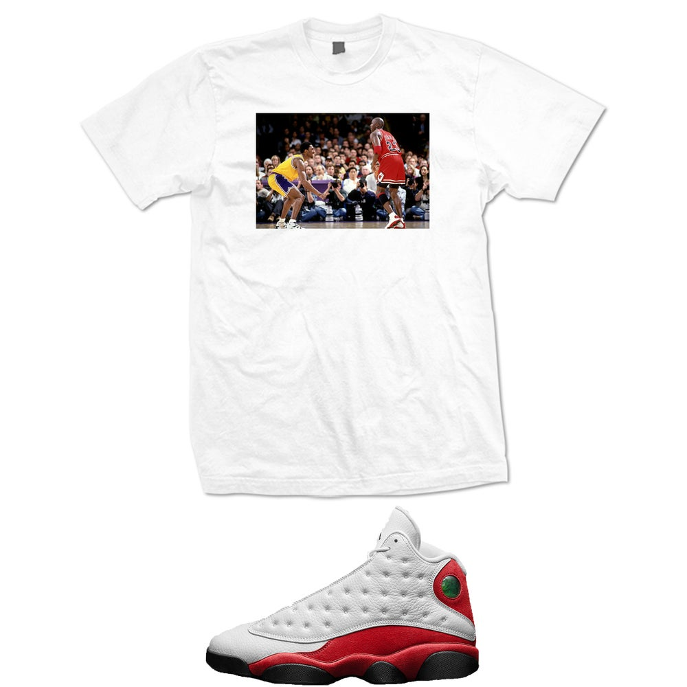 Image of MJ AND KOBE RETRO 13 OG CHICAGO T SHIRT - WHITE