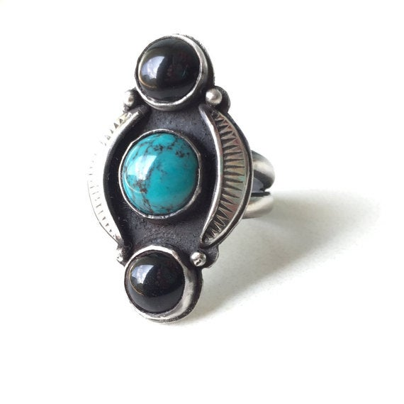 Image of Onyx And Turquoise Statement Ring with Hand stamped Detailing