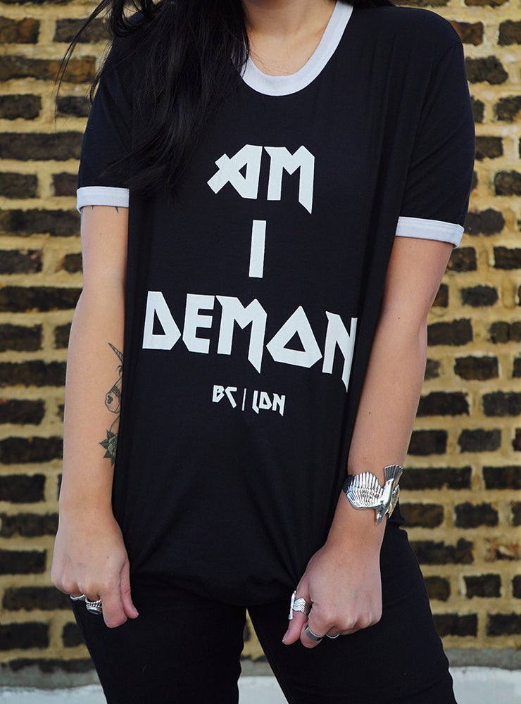 Image of Am I Demon Black Ringer Tee