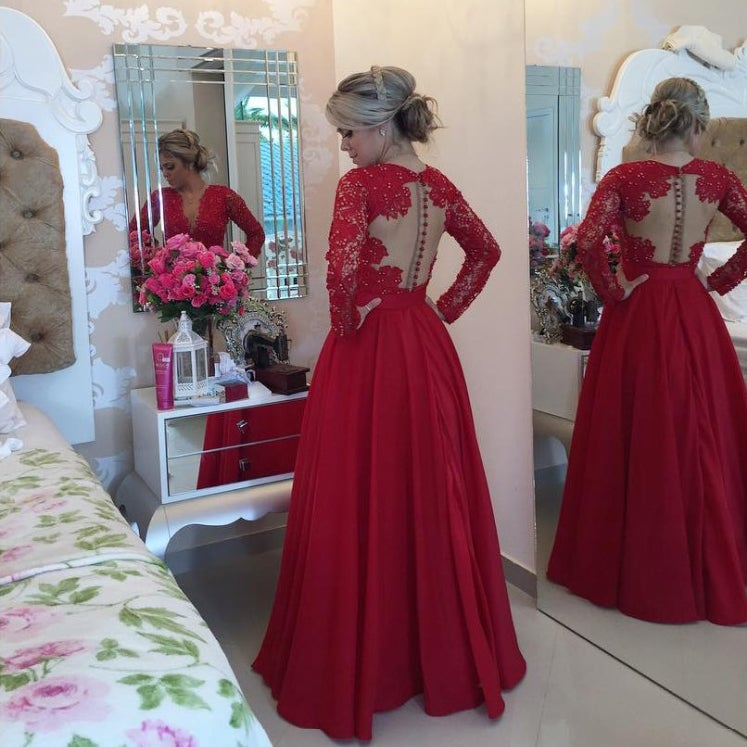 Honey Dress — Satin Red Lace Ball Gown Prom Dress,Long Sleeves V ...