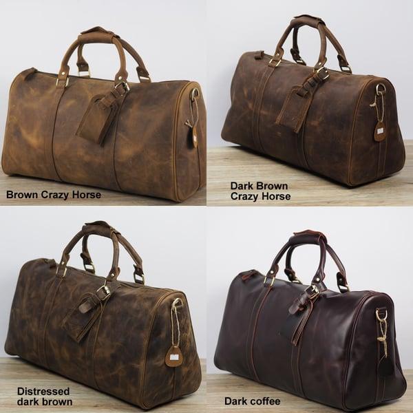 Handmade Vintage Leather Duffle Bag   Travel Bag   Luggage   Gym Bag   Weekend  Bag  N66M 59543ecd528d5