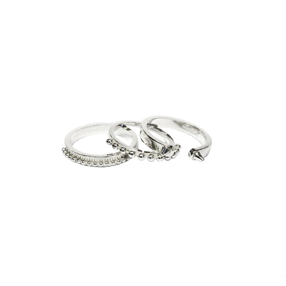 Image of A set of three silver rings