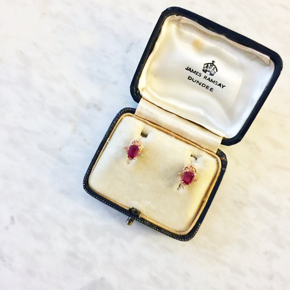Image of Art Deco Ruby Earring