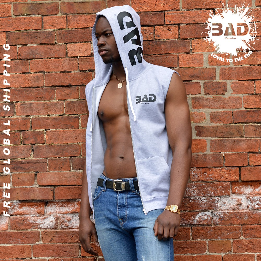 Image of Premium sleeveless zoodie by Bad London Designer Couture Street Wear and fitness fashion