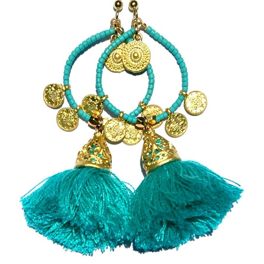 Image of Ltd Ed - Gold Tanis Tassel Earrings - Lagoon