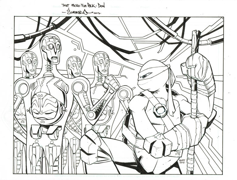 Image of ORIGINAL ART TMNT Fun Pack Cover Art :: Donatello