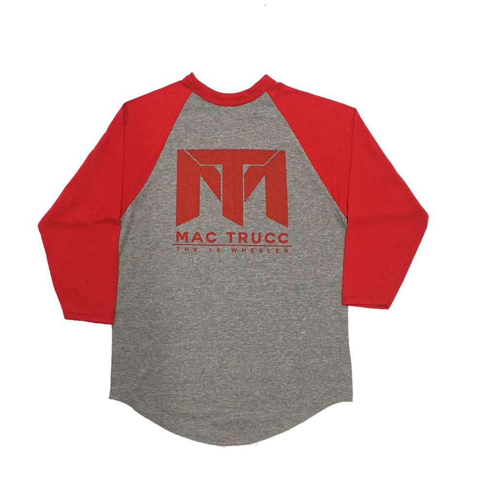 Image of MT Logo Baseball T (Heather Gray/Red)