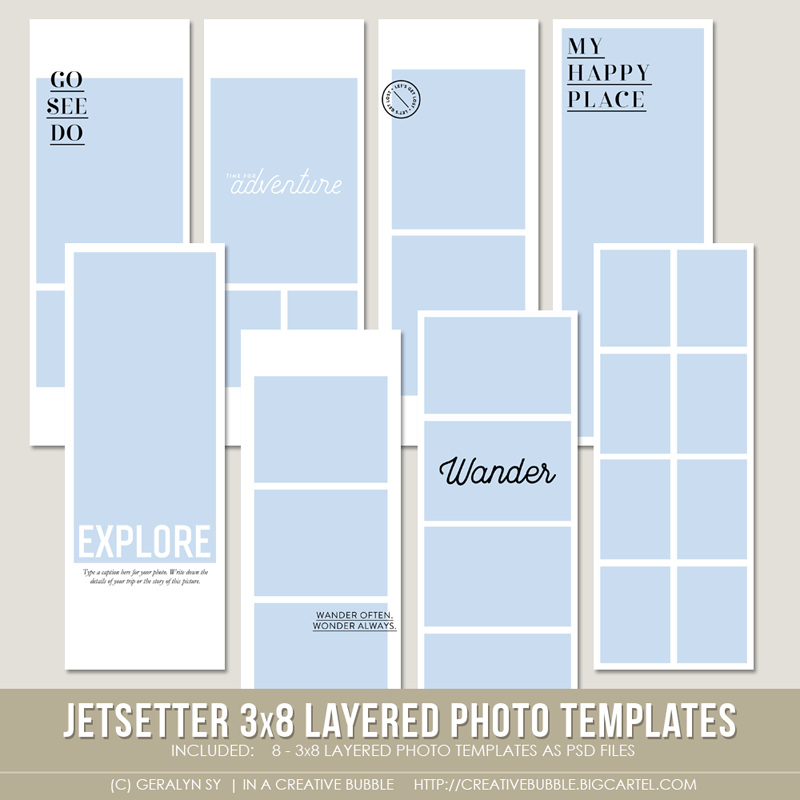 Image of Jetsetter 3x8 Layered Photo Templates (Digital)
