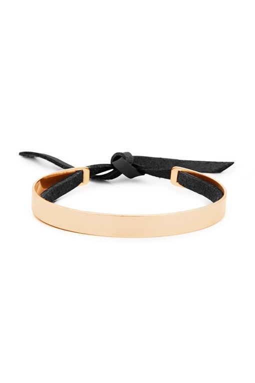 Image of STRIPE SKINNY Bracelet with Leather Band Gold or Rose